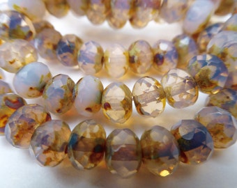 100 Czech Glass Fire Polished Roundel Beads in Dusty Light Rose Opal with Picasso finish5x7mm Size