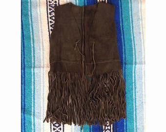 Fringe brown vest - size xs/small