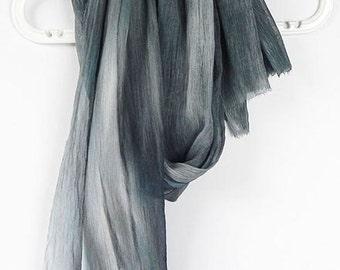 Gray Silk Scarf, Chiffon Crinkle Scarf, Wrap, Soft Pleated Silk Scarf, Hand dyed Ruffled Scarf, Long Luxury Silk Scarf, Gift for Her
