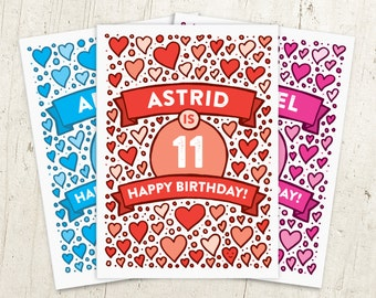Hearts 11th Birthday Card