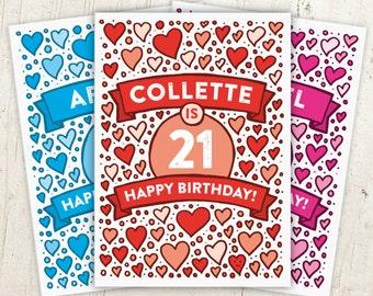 Hearts 21st Birthday Card