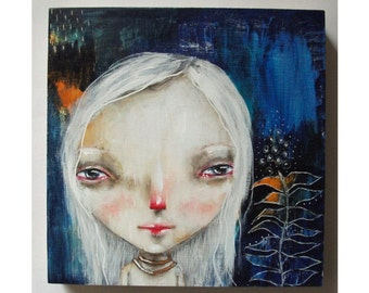 folk art Original girl painting mixed media art painting on wood canvas 6x6 inches - Let love be your guide