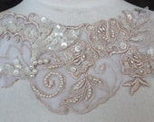 Cute embroidered and beaded organza flower applique ivory color 1 pieces listing