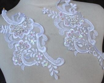Cute embroidered  and beaded organza  applique  white    color  2   piece listing
