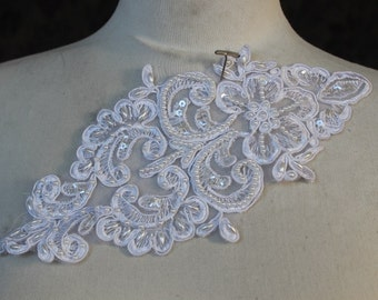 Cute embroidered  and beaded organza  applique white    color  1   piece listing 9 inch long  5 inch wide