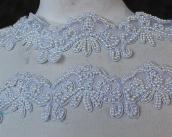 Cute   embroidered  and beaded    applique  trim  18 inch long