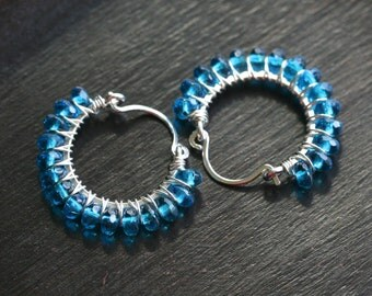 London blue Czech glass hoops, beaded hoop, hoop earrings, sterling silver, wire wrapped hoops, blue hoops, Mimi Michele Jewelry