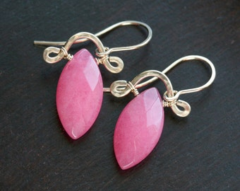 Raspberry pink dyed jade earrings, stone, marquise, 14k gold filled, drop earrings, dangle, Mimi Michele Jewelry