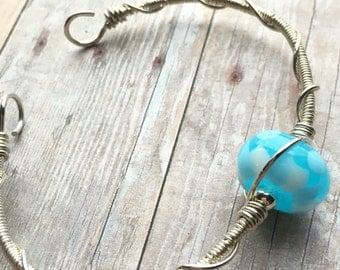 Lampwork Glass Bead Bracelet - Glass Bead Bracelet - Sterling Lampwork Bracelet - Blue Lampwork Bracelet - Lampwork Jewelry - Blue Bead