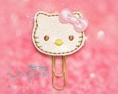 Pink Kitty Glitter Planner Clip