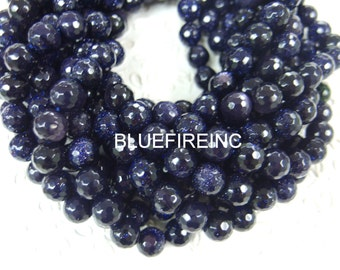 10mm 38pcs beads 16 inch long faceted round Blue Gold stone beads