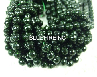 10mm 38 pcs beads 16 inch long faceted round Green Gold stone beads