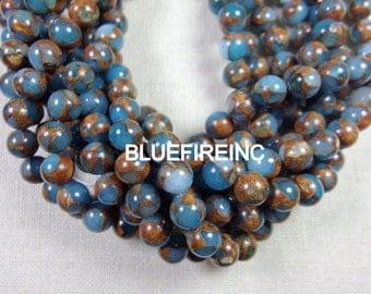32 pcs 12mm  blue with Golden Vein Jade Round Ball Stone Beads Strand