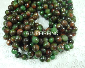 """32 pcs 12mm round faceted multi color jade beads 16 """" long"""