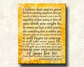 The Secret - I Believe that you're Great - 11x14 Mounted Word Art Print - Michael Beckwith quote - mounted print, canvas, greeting card
