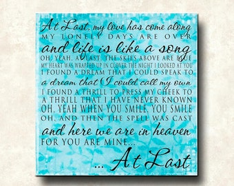 At Last Lyrics - 12x12 Word art Print -Etta James- love marriage engagement wedding - aqua pink white green - ready to frame.