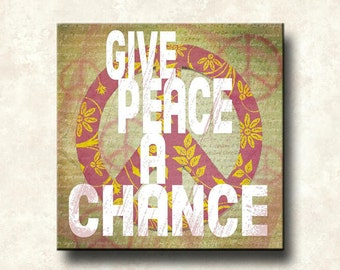 Give Peace a Chance - Art Block 12x12 Mounted Word Art Print - Beatles
