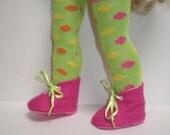 PINK Boots & Polka Dot Thigh High Socks 18 inch doll clothes
