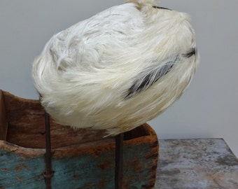 Vintage Antique White Feather Pill Box Womens Hat