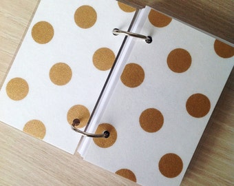SALE Small notebook with gold polka dots on white linen paper / Laminated ring binder notebook with hinged metal rings/ Gift under 10