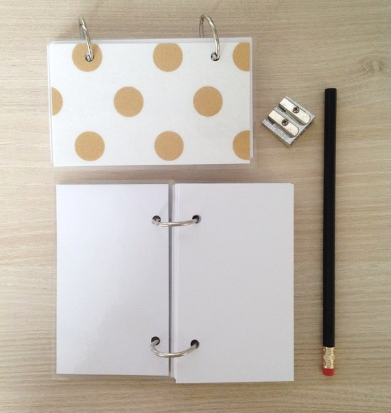 writehere SALE Mini Note Book Gold polka dots on white linen