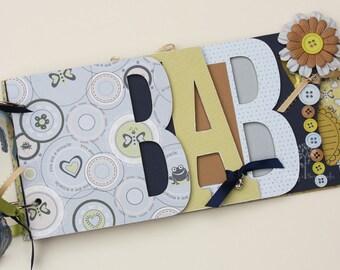 Baby scrapbook album, Baby shower gift, Premade scrapbook for baby boy, Word album made from chipboard, BB24