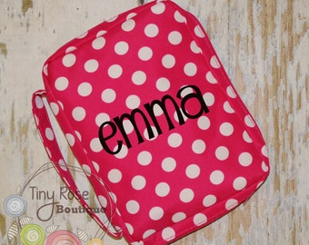 Personalized Bible Case Cover -Monogrammed Hot Pink Polka Dot Bible Travel Case