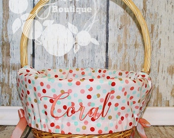 Easter Basket Liner- Coral, Mint, Gold Dot - Comes Personalized