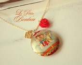 Childhood memories with initial pictures Locket necklace