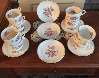 Virginia Rose Cups  and Saucers