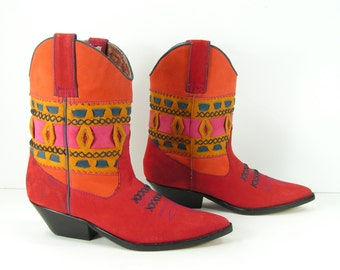 women's cowboy boots 8 M pee wee southwestern native american fashion leather suede clay red orange turquoise