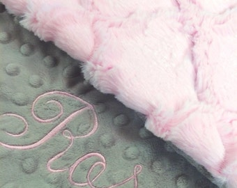 Baby Blanket, Personalized Baby Blanket, Baby Pink Lattice and Silver Minky Baby Blanket, Newborn Girl Baby Blanket, Baby shower gift