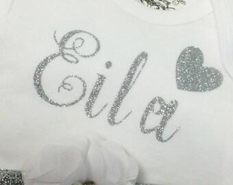 Silver Glitter Personalized Onesie, Matching Headband, Monogrammed Shirt, Baby Shower Gift, White Flower Headband