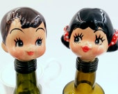 Ceramic Doll and Cork Wine Stopper - set of 2
