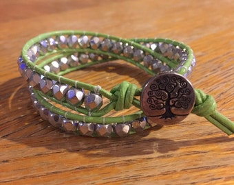Double Wrap Bracelet in Lime Green Leather