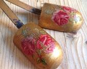 Vintage boudoir gold hand painted rose design 1930s - shabby chic