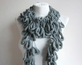 Gray Pompom Scarf,Crochet Scarf,Mulberry Scarf,Accessories