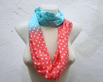 Polka Dot Print, infinity Scarf, Loop Scarves, Circle Fabric Necklace, Neckwarmer, Tube Accessories, White Orange Blue