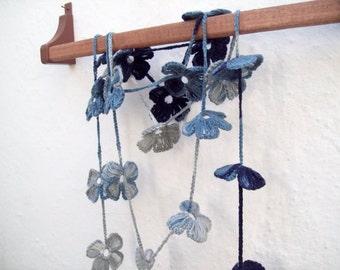 Crochet Lariat Scarf, Flower Scarf, Crochet Necklace, Long Necklace jewelry, Women Accessories, Greey Blue Darkblue