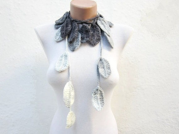 Crochet Lariat Scarf, Black Grey White, Variegated Long Necklace, Leaf Jewelry, Crocheted Women Jewelry, Winter Accessories