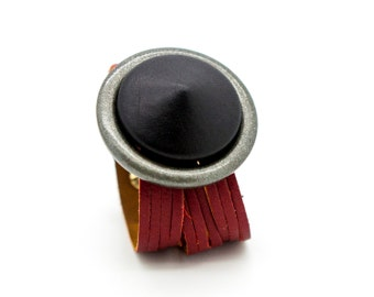 Red and Black Leather Cuff Bracelet  - the Suoni