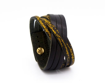 Black and yellow leather cuff, black cuff bracelet, yellow leather bracelet  - the Orleans