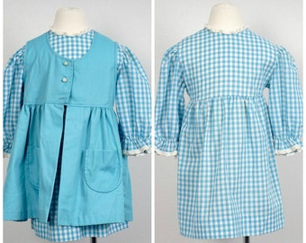 cornflower blue gingham check 70s vintage girls dress and smock size 6 long sleeve child's dress