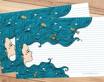 Mermaid Blues - A5 Stationery - 12, 24 or 48 sheets