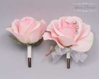 Blush Pink Rose Pin On Corsage and Boutonniere Set. Real Touch Flowers. Caroline Rose Collection