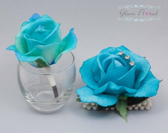 Turquoise Blue Rose Wrist Corsage and Boutonniere Set. Real Touch Flowers. Caroline Rose Collection