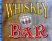 Whiskey Bar Sign, Can be Fully Customized, Retro Style Christmas Gift for Him