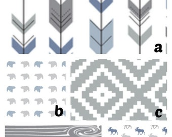 Custom Crib Bedding Gray Light Blue Tribal Arrow Bear Moose Woodland Bumper Blanket Fitted Sheet Crib Skirt