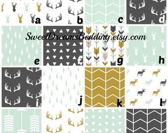 Custom Bedding Woodland Arrows Deer  in Mint Charcoal and Gold