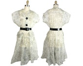 1950s Ladies Vintage Nylon Dress with Spirograph Ribbon Print M